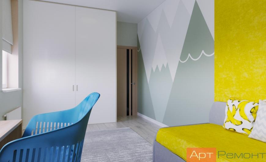 Детская комнат с рисунком на стене