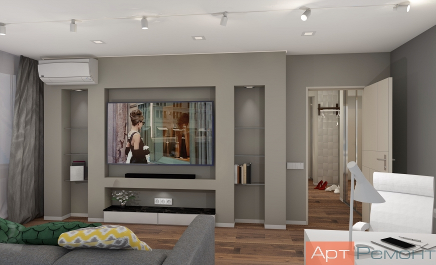 Дизайн двухкомнатной (хрущевки) квартиры (гостиная1)
