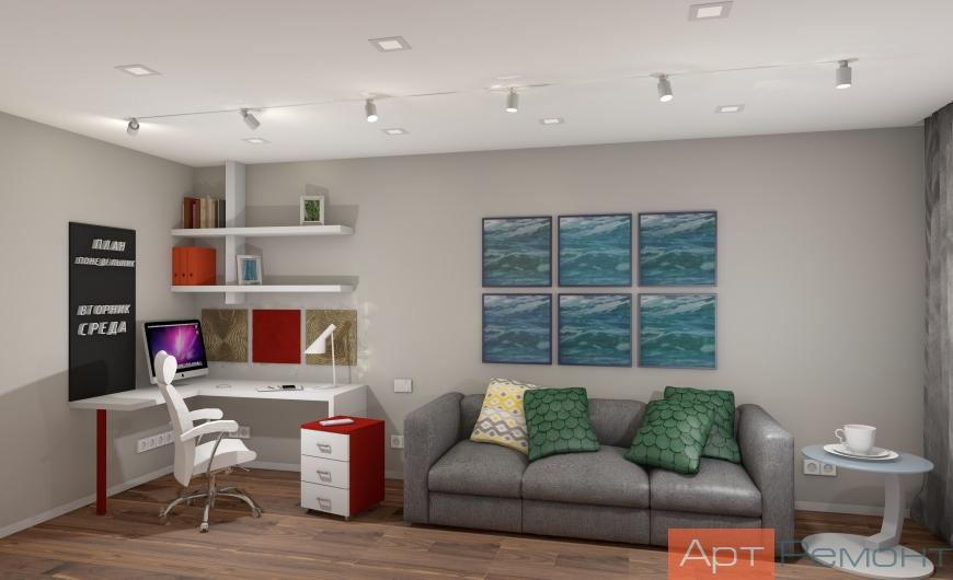 Дизайн двухкомнатной (хрущевки) квартиры (гостиная3)