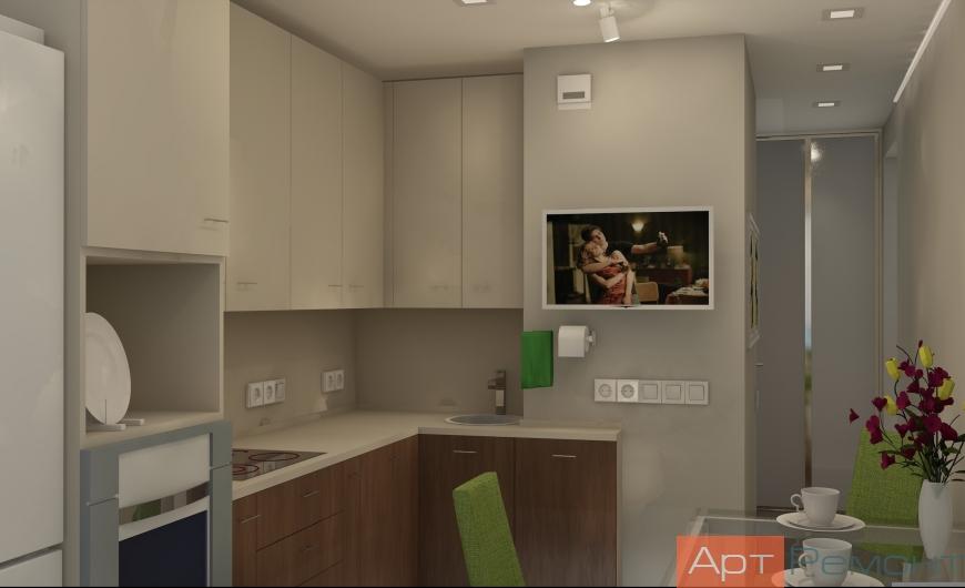 Дизайн двухкомнатной (хрущевки) квартиры (кухня3)